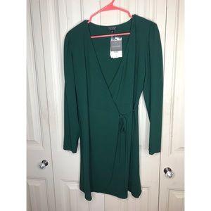 Topshop Green Wrap Dress